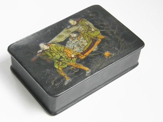 Victorian Black Laquer Chinese Snuff Trinket Box