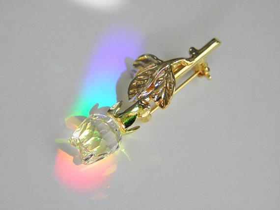 Vintage Swarovski Crystal Rose Brooch, Swan Mark