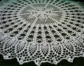 "White Crochet Doily / Large Doily / Pineapple / Round 28 "" / Lace"