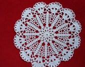small crochet doily white circle  8 inches in diameter