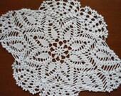Handmade crochet doily , white ,oval ,lace