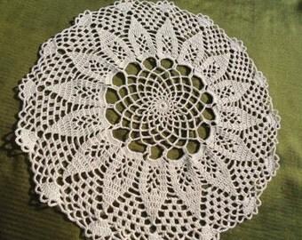 """Ecru crochet doily ,  round , lace doily , 12"""""""