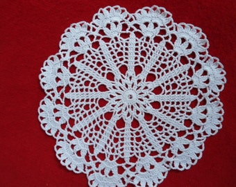 small crochet doily white circle  8 inches in diameter