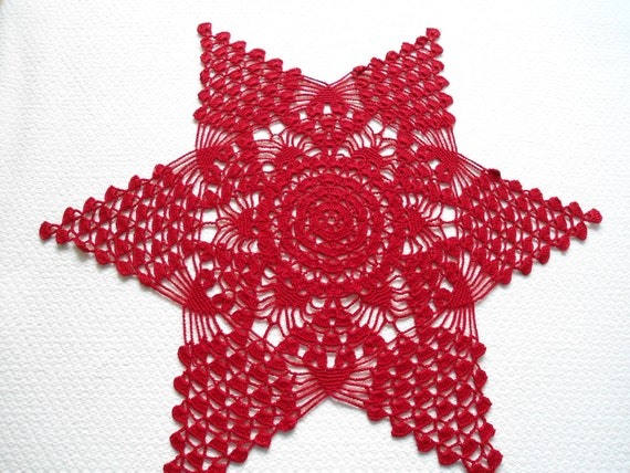 Red  doily star