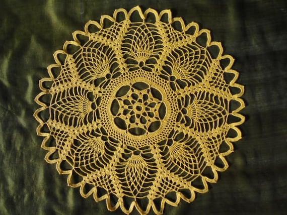 Yellow crocheted doily pineapple sunshine