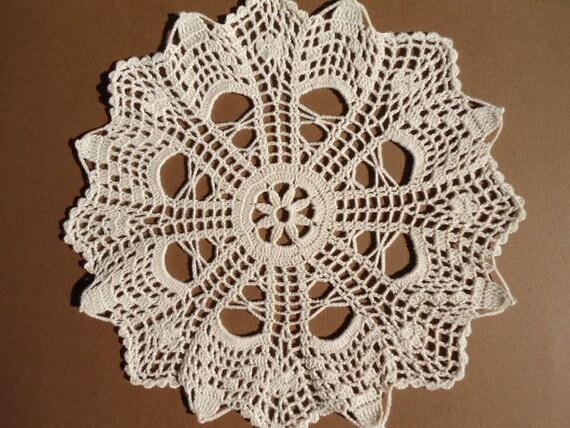 Crochet doily cream round