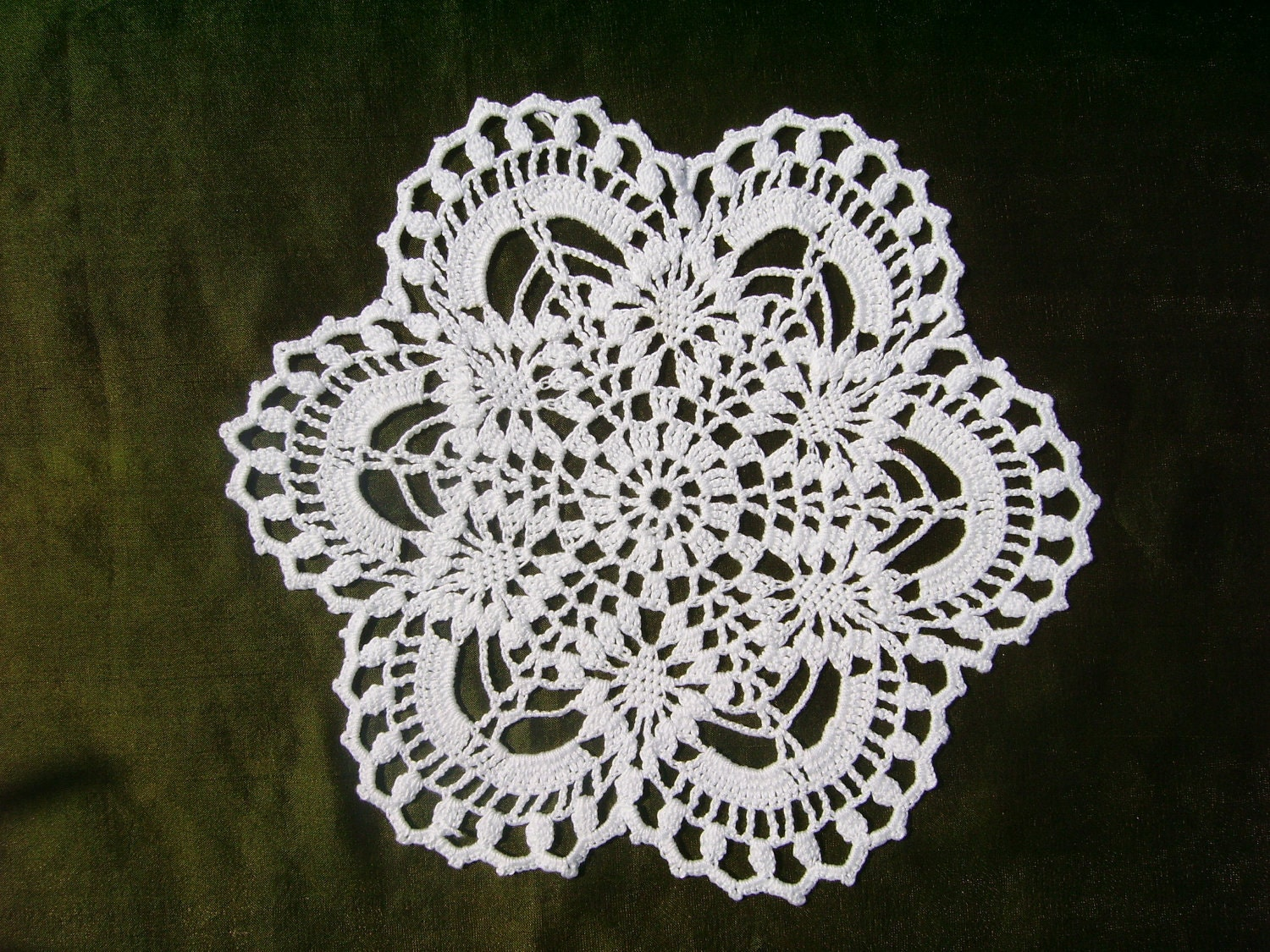 Crochet Doilies : Small crochet doily white doilies round 9 inches by kroshetmania