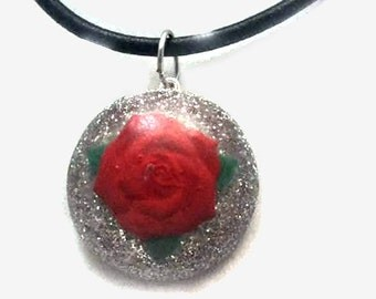 Round Red Rose Pendant on Black Cord