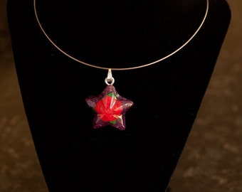 Red Rose Star Pendant on a Silver Wire Necklace