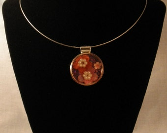 Cherry Blossom Round Pendant on a Silver Wire Necklace