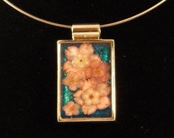 Cherry Blossom Rectangular Pendant on a Silver Wire Necklace