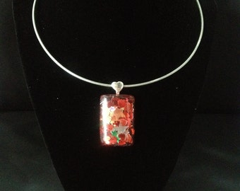 Hearts and Stars Pendant on a Silver Torque Necklace