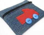 Gift ideas for boys, Kids coin pouch, Denim zipper pouch, red fire engine blue denim, handmade unique gifts for kids