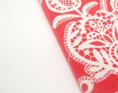 Coral red 2014 Diary, A6 notebook, romantic white lace orange, Wedding planner, Sketchbook, handmade