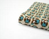 Teacher gifts under 35, Owls brown turquoise cream fabric pocket Moleskine cover, cute gifts for graduation