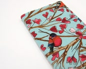 Gifts for Her under 35, turquoise red birds cloth cover for Large Moleskine 5 x 8 inch or 21 x 13 cm, greengrass2