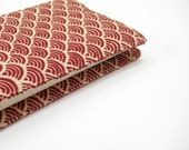 Ruby red Pocket Moleskine cover, burgundy red natural nautical waves fabric, handmade journal covers