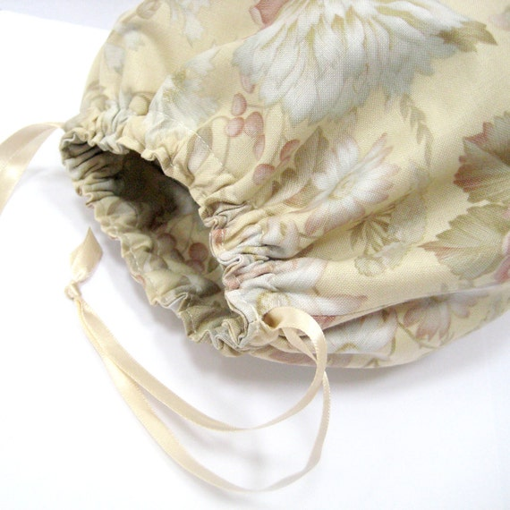 SALE Cosmetic bag, beige cream ivory neutral drawstring toiletry bag, bathroom storage solution