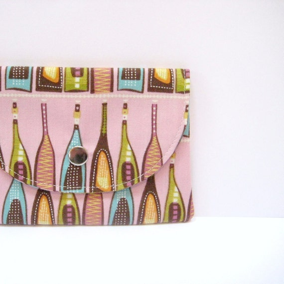 Pink fabric business card case, turquoise orange brown wine bottles business card holder, Under 15 dollars, handmade card wallet