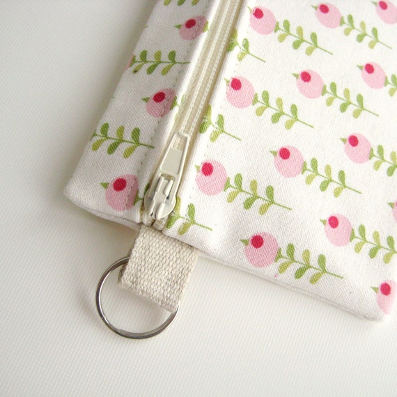 Summer coin purse wallet ivory white pink green, Gift ideas Her, Gift ideas Women, Under 20 dollars, Small zippered change purse on keyring