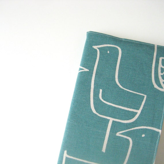 Teal bird Moleskine cover 21 x 13cm for 2014 planner or journal, large Moleskine journal 5.25 x 8.25 in fabric cover white