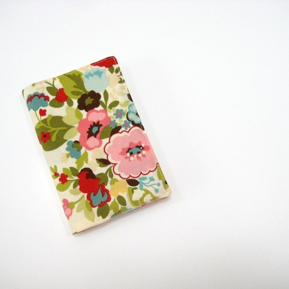 Pretty floral fabric pocket Moleskine cover, cream green pink blue, for 9x14cm hardcover Moleskine planner or journal