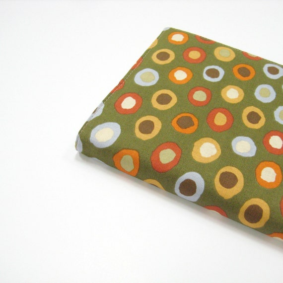 Journal for him, olive green dots cloth cover for Large Moleskine 2013 planner, Gifts for men under 40 dollars