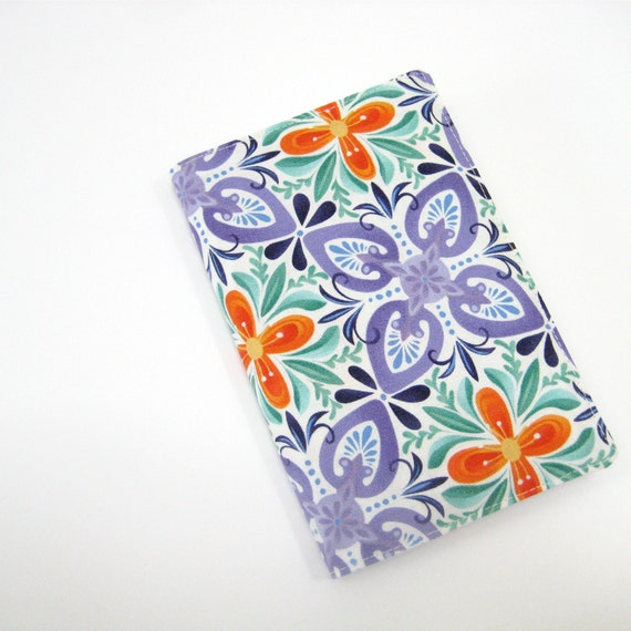 2014 planner cover, Nectarine orange African violet purple Emerald green pantone colors, fabric cover for pocket Moleskine journal
