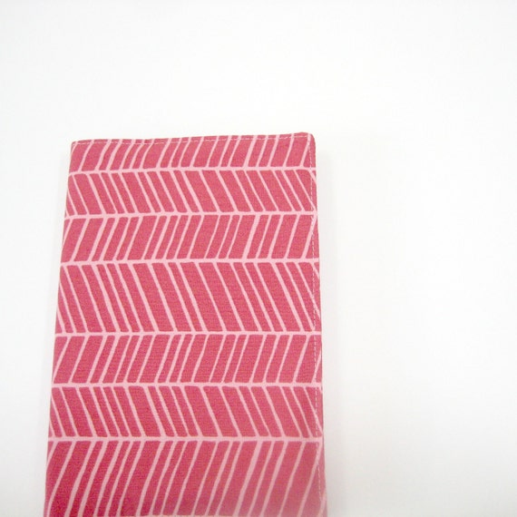 SALE Chevron pink white travel journal, A6 fabric covered notebook, Gifts for teachers under 35, greengrass2