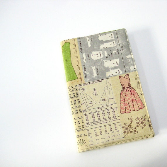 Sewing inspired journal cover, fabric cover for Large Moleskine, beige pink grey green seamstress crafting Gifts for Her under 35