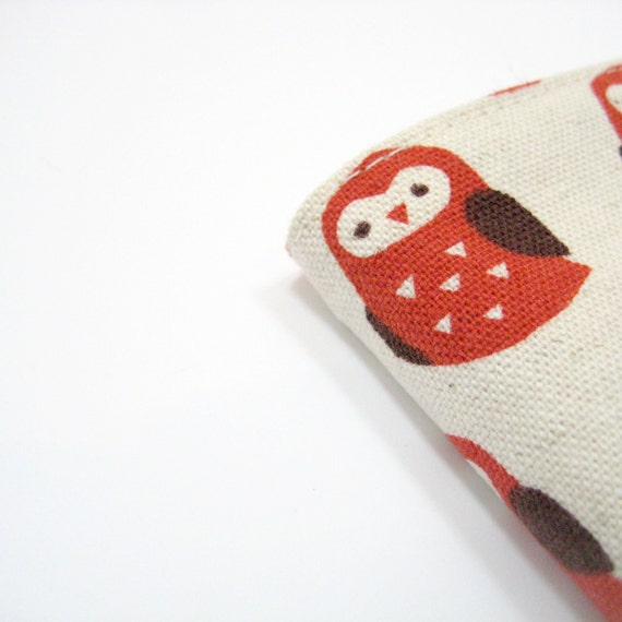 Owls 2013 diary or notebook with red cream fabric cover, A5 day to a page, cute gifts for girls, greengrass2