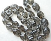 Sale Black Rutilated Quartz Smooth Polished nuggets-AAA- 1/2 strand 16 Pcs-7-12 mm