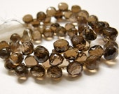 Sale Smoky quartz faceted onion briolette- set of 10 Pcs- 5-6 mm