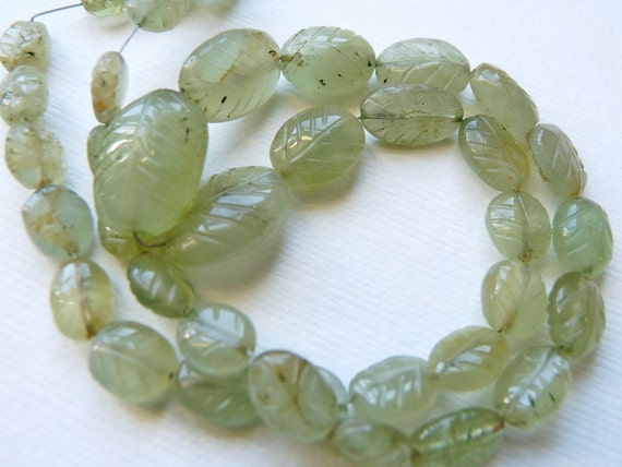 Moss aquamarine carved leaf oval nuggets- CENTER DRILLED- 1/2 strand 19 Pcs- 7-15 mm
