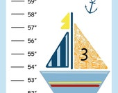 Personalized Baby Sail Boats with Fish Canvas Growth Chart