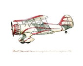Waco Open-Cockpit Biplane vintage airplane watercolor print, 8x10""