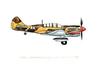 "Curtiss P-40 ""Warhawk"" vintage airplane watercolor print, 8""x10"""
