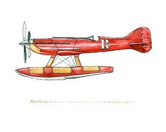 "Macchi M.C. 72 vintage airplane watercolor print, 8""x10"""