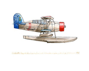 """Curtiss SOC Seagull vintage airplane watercolor print, 8""""x10"""""""