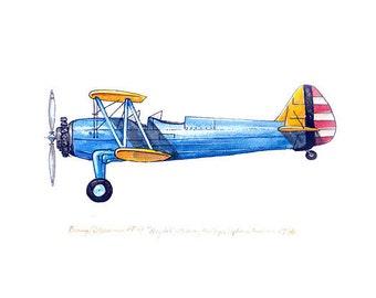 "Boeing/Stearman PT-17 vintage airplane watercolor print, 8x10"""