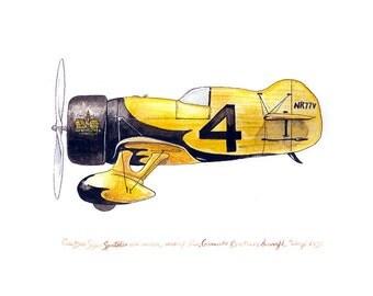 """Gee Bee Z """"Wasp"""", vintage racing watercolor print, 8x10"""""""