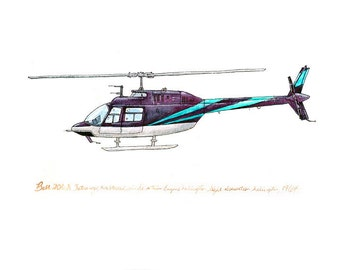Bell 206 Jetranger, Vintage-style aircraft watercolor print, 8x10