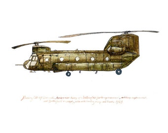 "CH-47 Chinook, us army aviation watercolor print, 8x10"" (Greener)"