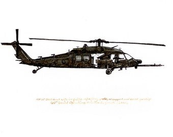 "UH-60 Black Hawk, US Army Aviation watercolor print, 8x10"""
