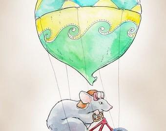 """Hot Air Balloon Mouse print, 8x10"""""""