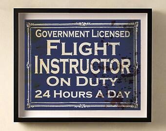 Flight Instructor on Duty vintage print