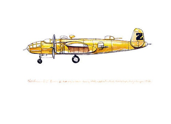 "North American B-25 ""Mitchell"" Bomber vintage airplane watercolor print, 8""x10"""