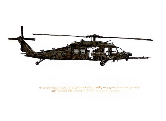 UH-60 Black Hawk, US Army Aviation watercolor print, 8x10""
