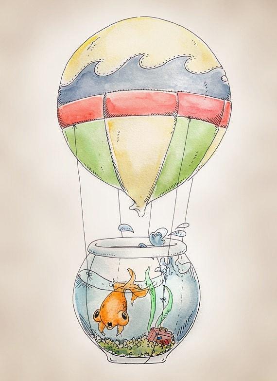 """Hot Air Balloon Fish print, 8x10"""""""