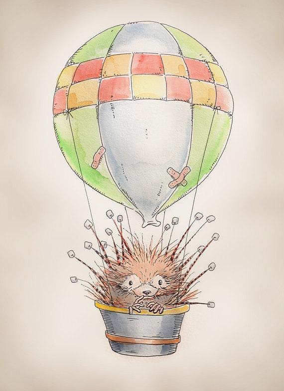 """Hot Air Balloon Porcupine print, 8x10"""""""